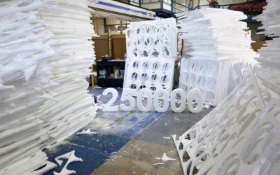 Tecmolde y Concahusa celebran 250.000 y afianzan el compromiso. La empresa de Luzán y Podoactiva continúan con su gran producción de protecciones